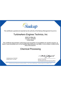 Nadcap – Chemical Processing (TET)