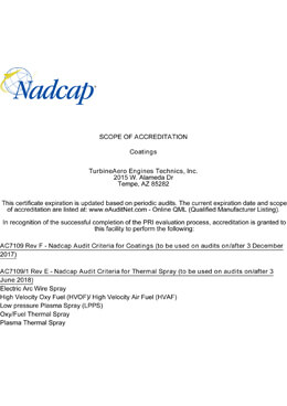 Nadcap – Coatings (TET Tempe – 2)