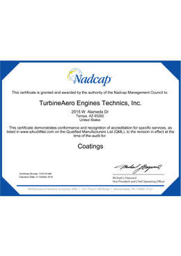 Nadcap – Coatings (TET Tempe)