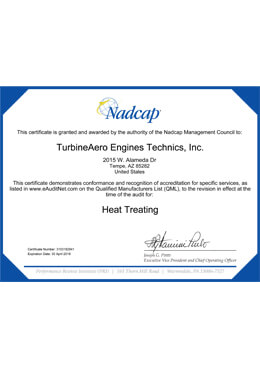 Nadcap – Heat Treating (TET Tempe)