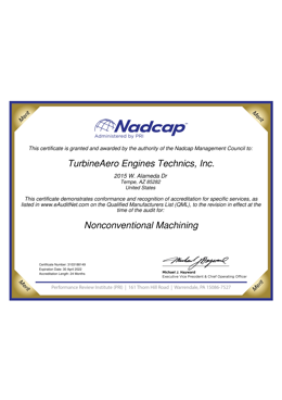 Nadcap – Nonconventional Machining (TET)